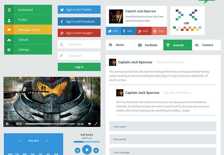 25 Flat Ui Kits For Web Designers Uielements Style Flat