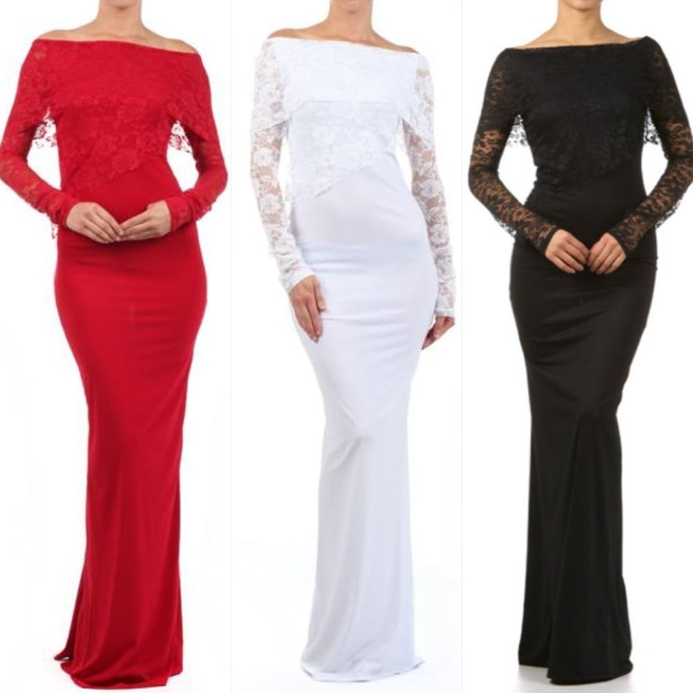 New s m l xl maxi dress women black long sleeve lace layered full