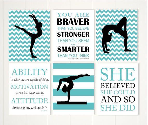 Gymnastics Wall Art gymnastics quotes, pre teen girl wall art, acrobatics, acro wall