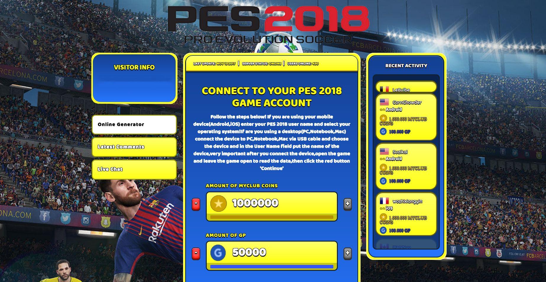 PES 2018 Hack Cheat Generator myClub Coins & GP Unlimited