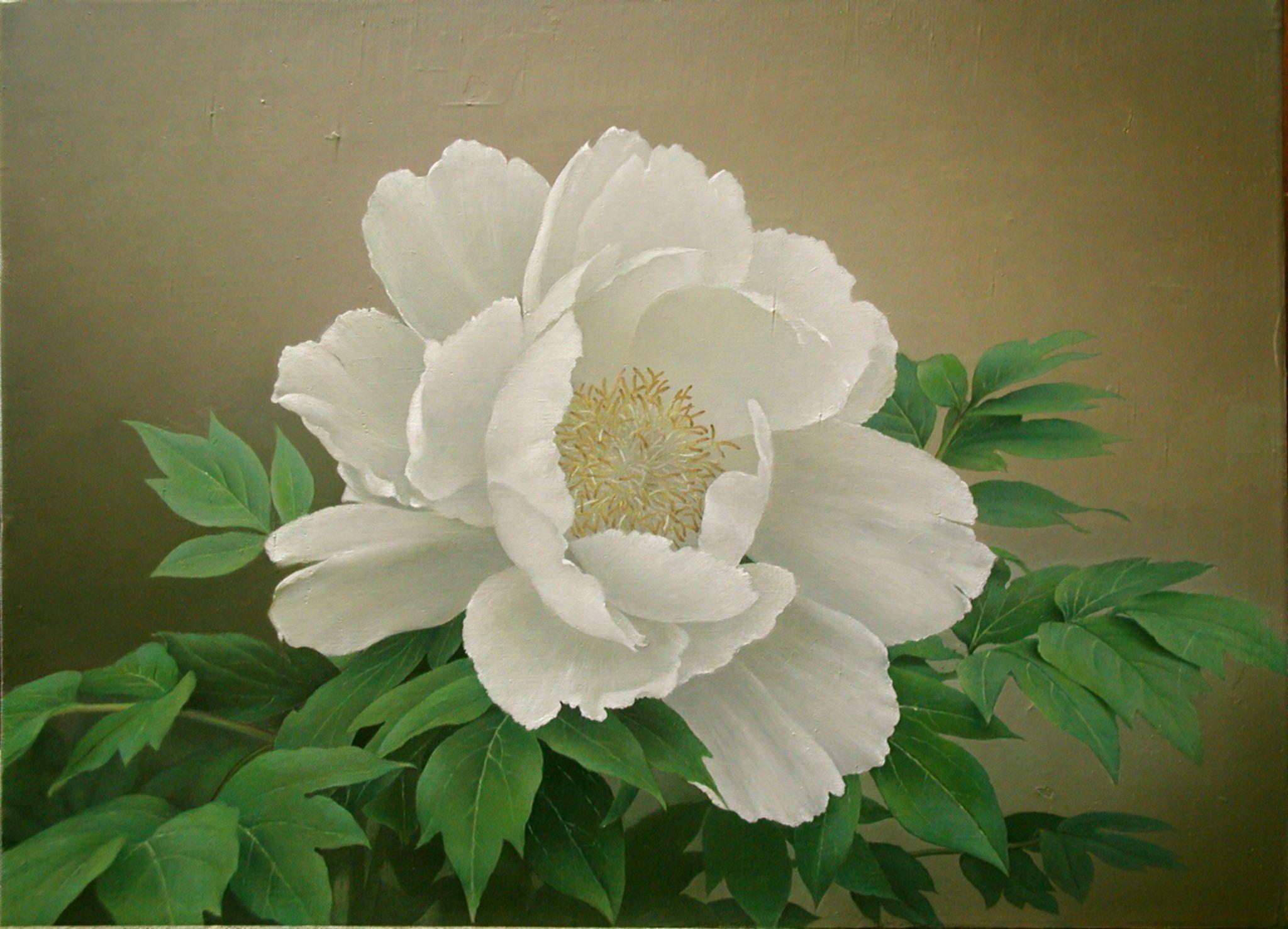 牡丹 続木唯道 油彩 f10号 2004年 個人蔵 絵に描いた花では薔薇が一番多く 次いで月下美人や牡丹がくる 他に薮椿 水仙など和風な感じの花も描いたが 艷やかでボリュームがある花の方が見応えがする というわけで描いたのが この白の大輪の牡丹である 薔薇や月