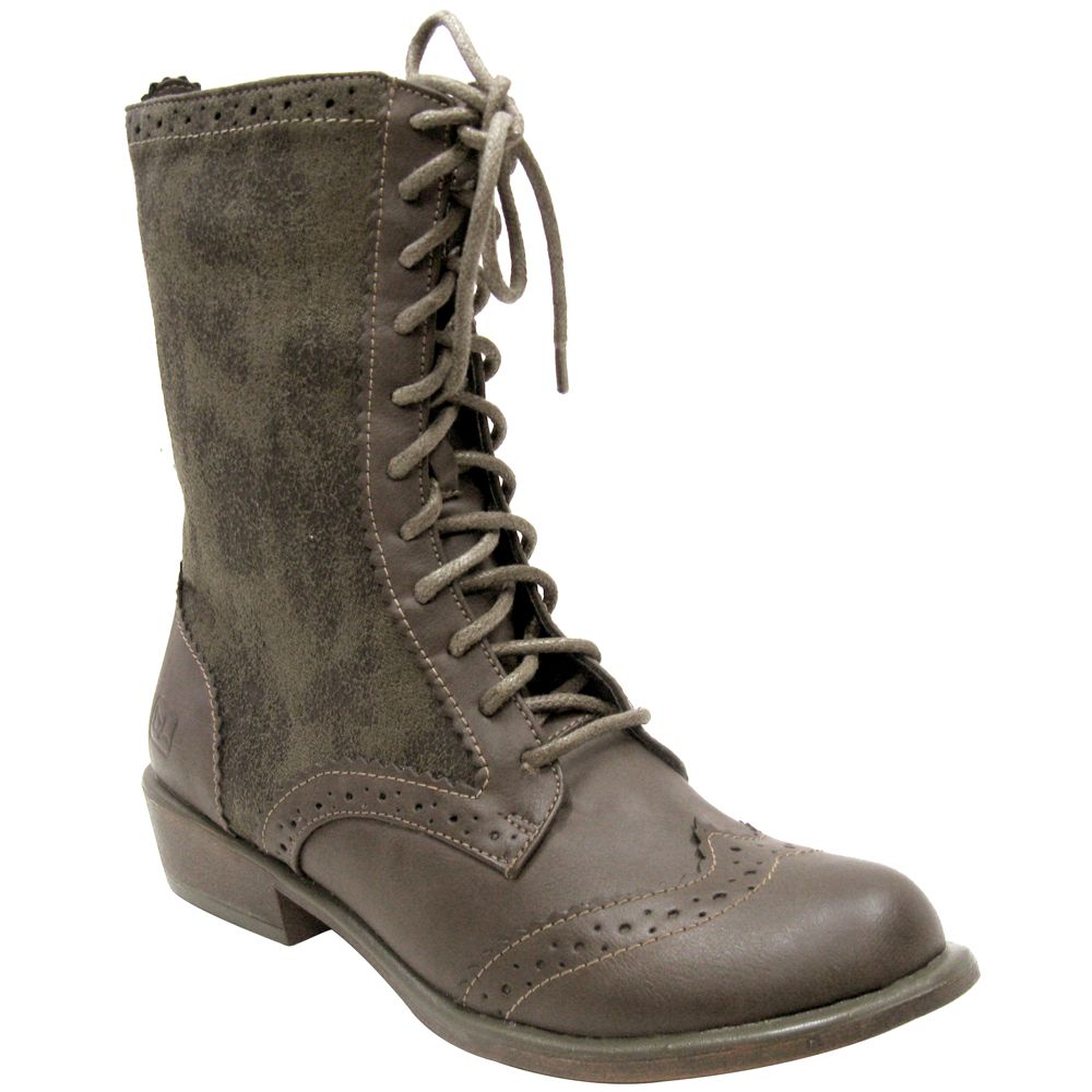 Women's Vegan Combat Boots: Dirty Laundry Paxton Distressed Taupe