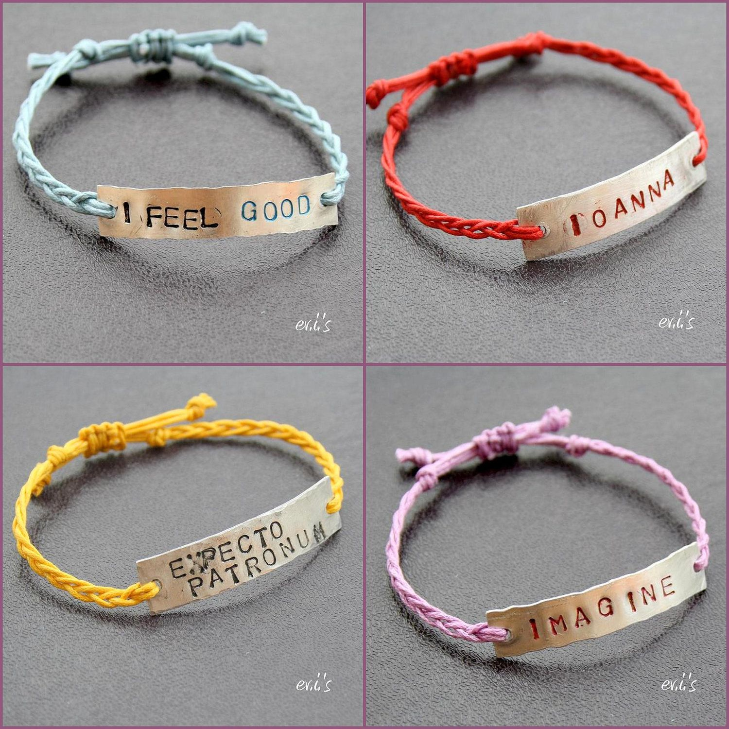 KISS ME Hand Stamped Metal Tag Bracelet With Dark Blue Cotton Cord Friendship Adjustable Artisan Gift For Her EUR1200 Via Etsy