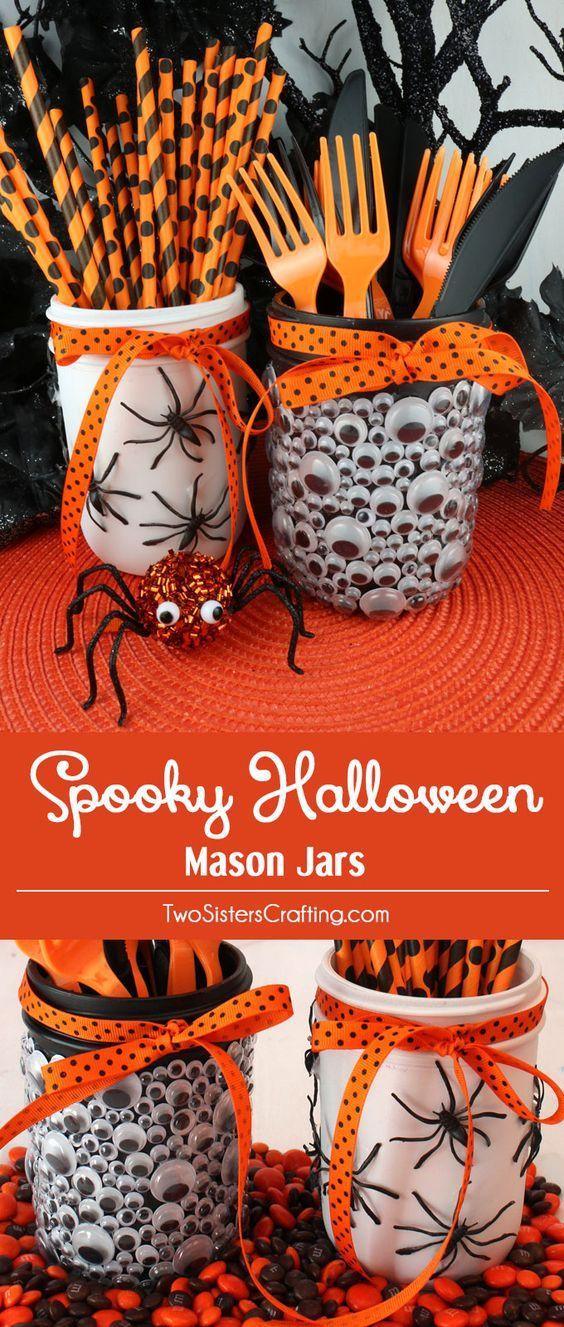 Spooky Halloween Mason jars #diy_decorations_mason_jars helloween - fun homemade halloween decorations