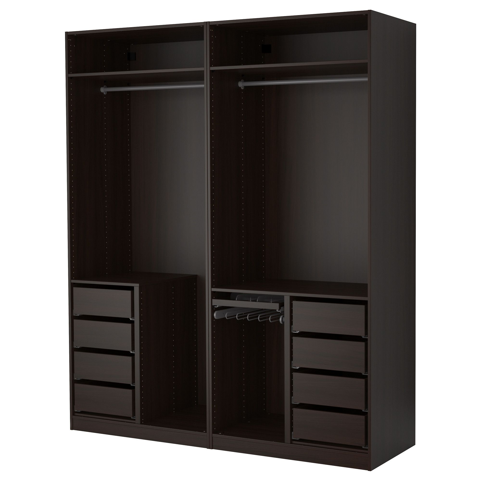 pax armoire penderie brun noir 200x58x236 cm ikea dressing dressing ouvert et armoire penderie. Black Bedroom Furniture Sets. Home Design Ideas