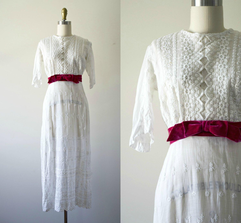 Edwardian wedding dress  Edwardian wedding dress antique white cotton tea dress s
