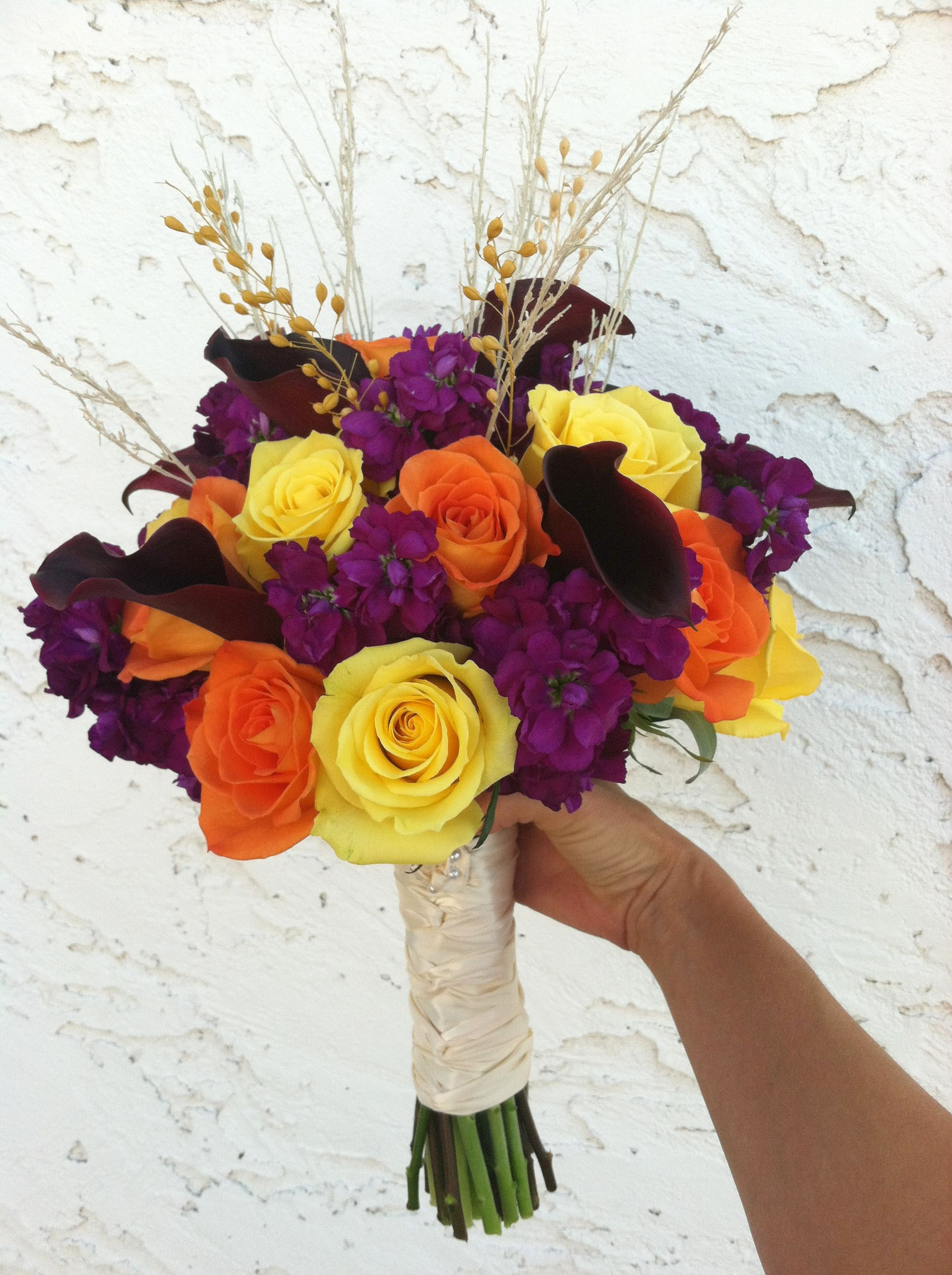 Fall bridal bouquet in purple, orange and yellow by @Cactus Flower ...