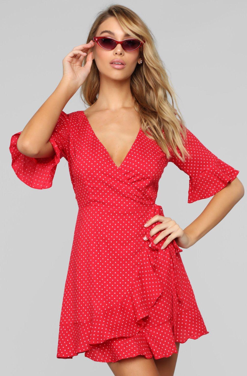 Caribell Polka Dot Dress Red/White Red dress, Dot