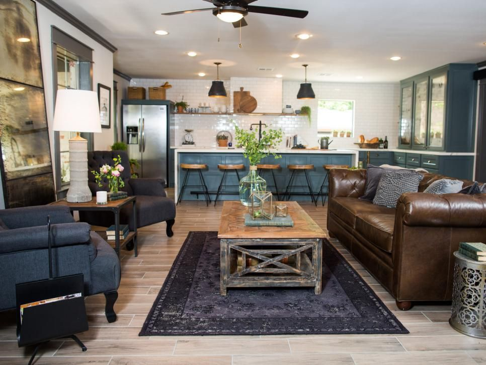 Hgtv Fixer Upper Old World Charm For Newlywed Episode House In Waco Texas Jpeg 966 725 Fixer Upper Living Room Kitchen Living Living Room Kitchen