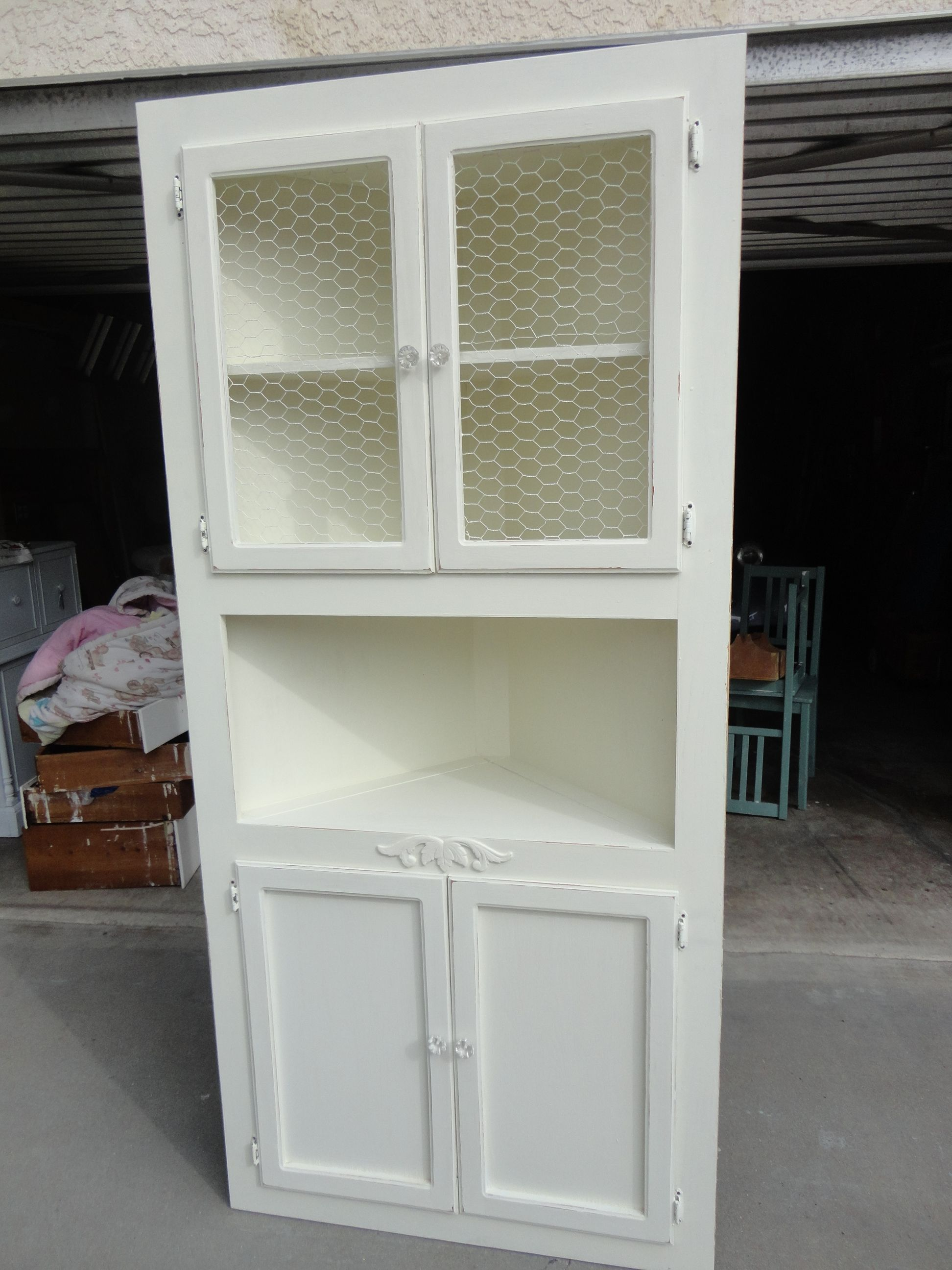 Oak Corner Cabinet Painted White I Removed The Glass And Stapled Chicken Wire Added