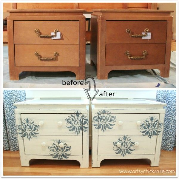 Aubusson Blue Stenciled Thrift Store Night Stand Makeover Chalk Paint Before And After Artsychicksrul Paint Furniture Stencil Furniture Painted Furniture