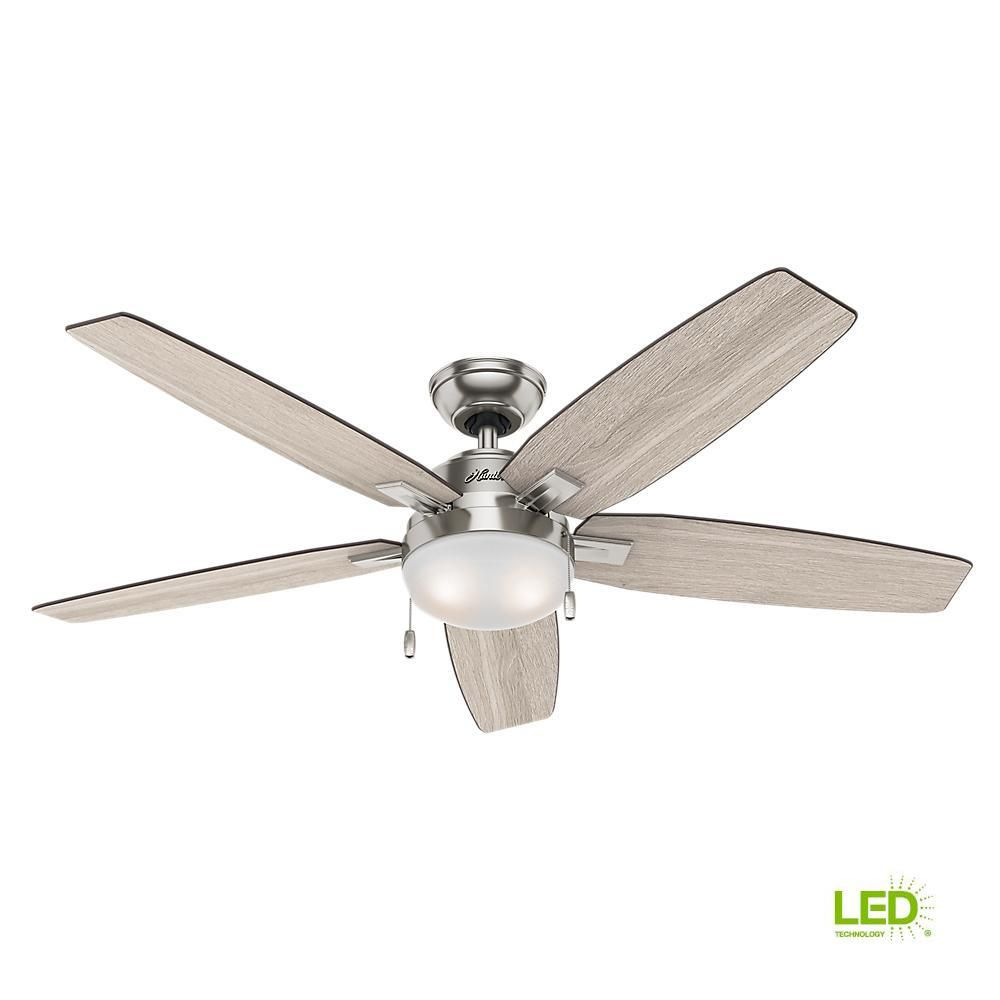 Hunter Antero 54 In Led Indoor Brushed Nickel Ceiling Fan With Light 59183 The Home Depot Ceiling Fan With Light Brushed Nickel Ceiling Fan Fan Light