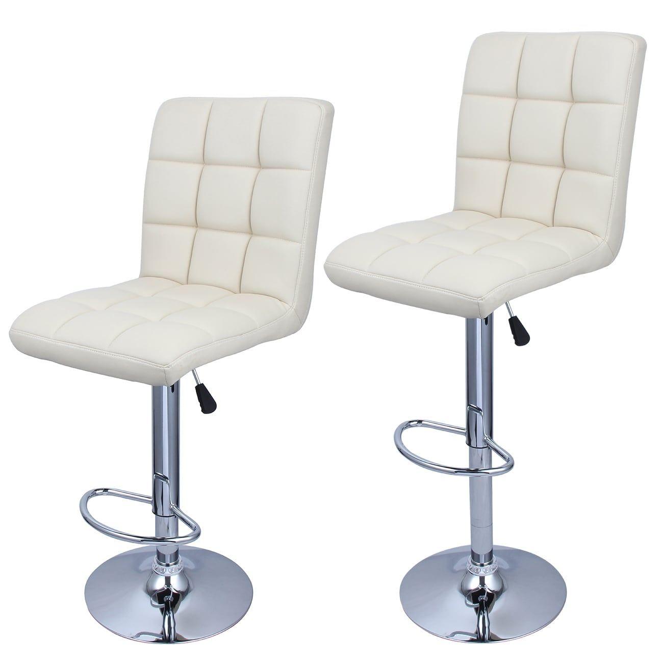 Groovy Belleze Swivel Leather Adjustable Hydraulic Bar Stool Cream Machost Co Dining Chair Design Ideas Machostcouk