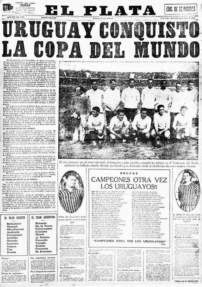 Uruguay 4 Argentina 2 In 1930. A Newspaper Report On The World Cup