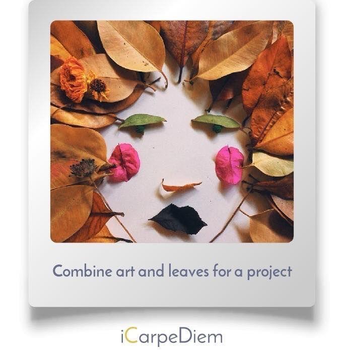 Fall and Halloween bucket list idea : combine art and leaves for a project Bucke #fallbucketlist