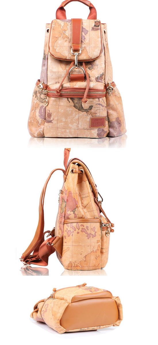 Retro leisure world map leather backpacks unique backpacks retro leisure world map leather backpacks gumiabroncs Image collections