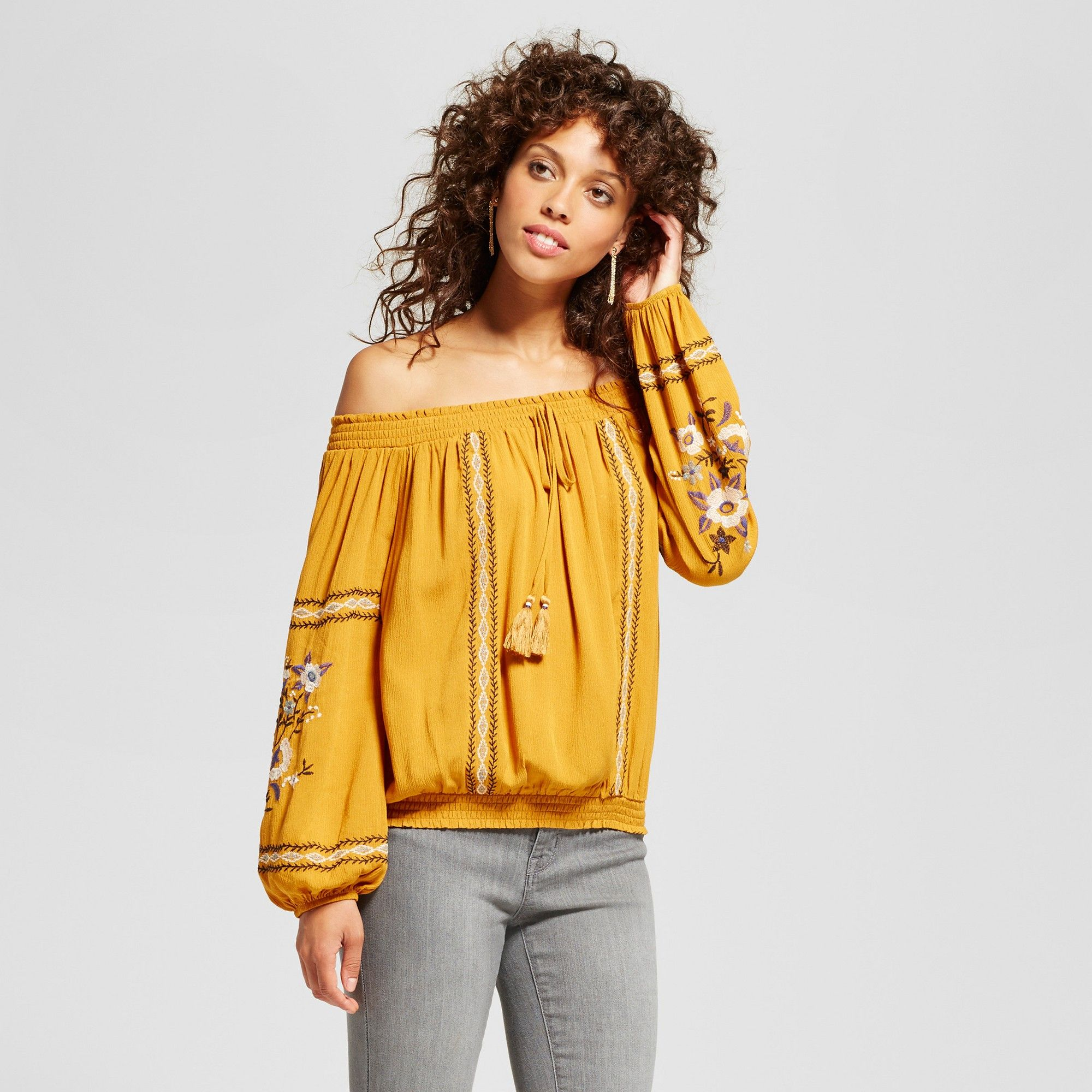 c108452150be8 Women s Embroidered Smocked Off the Shoulder Top - Xhilaration (Juniors )  Gold Xxl