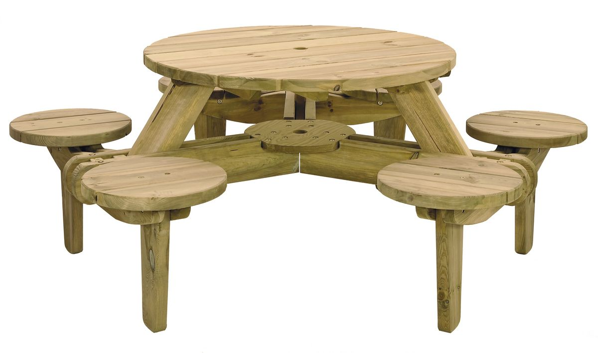 Winchester WRB38G Picnic Table 8 Seats Round Pub Bench Garden Furniture