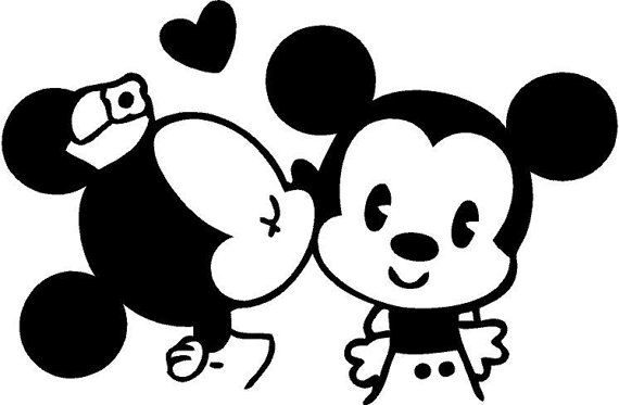 Classic Mickey And Minnie Mouse Kissing Vinyl By