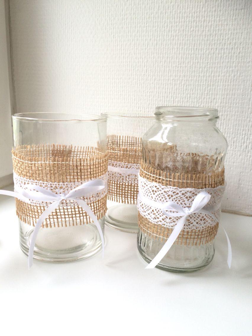unsere vasen f r die tischdekoration einfache joghurtgl ser mit einem juteband und einem. Black Bedroom Furniture Sets. Home Design Ideas