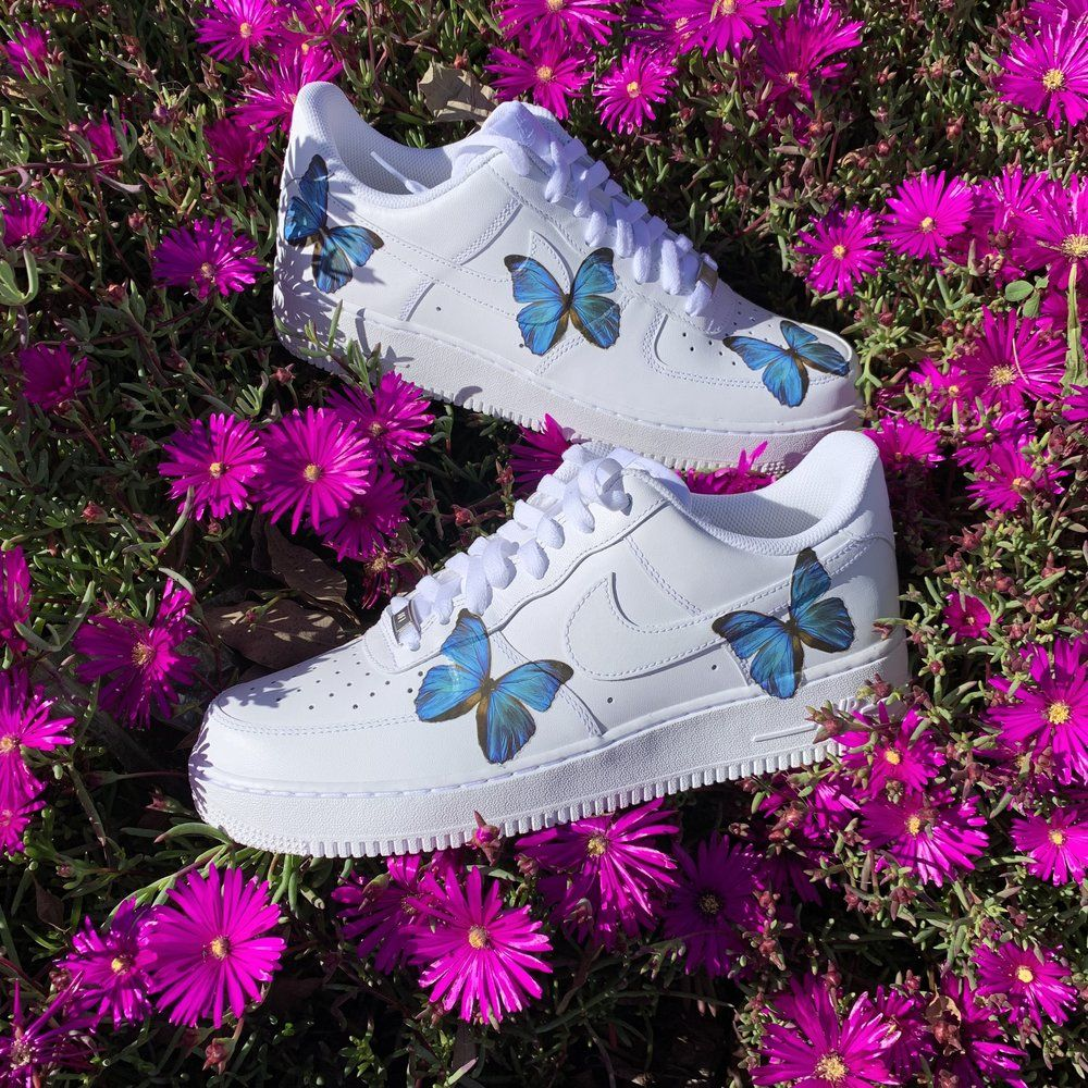 Blue HD Clear Butterfly Air Force 1 Aesthetic shoes
