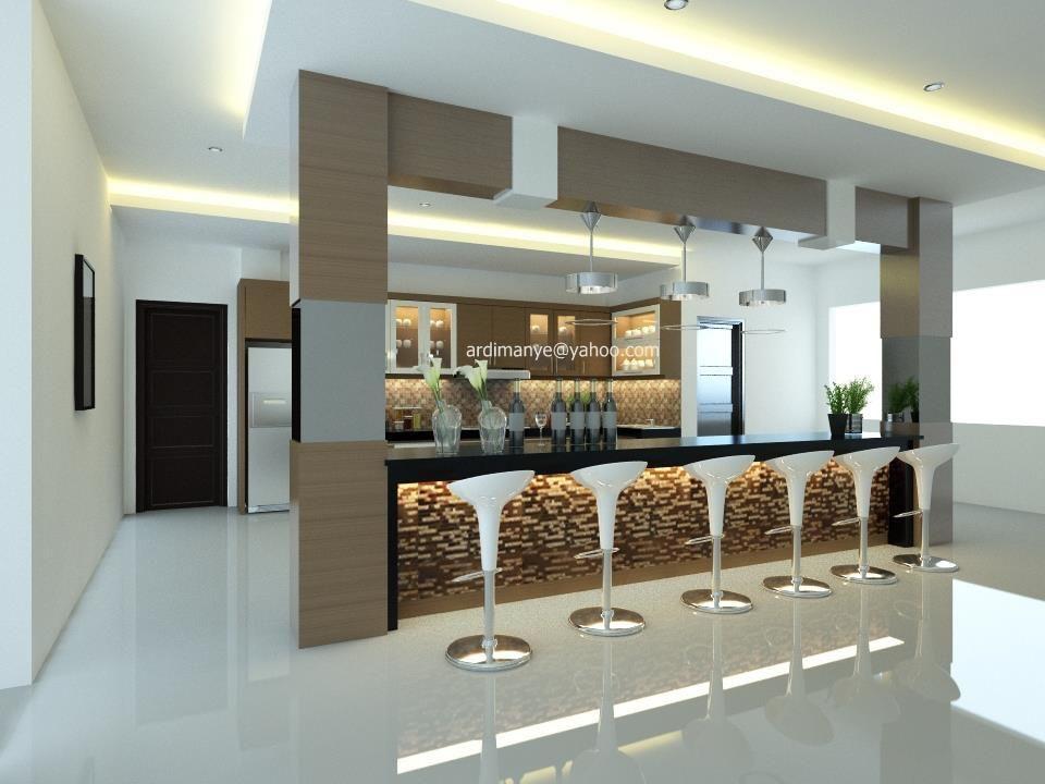 Desain Dapur Dan Minibar Konsep Modern Minimalis Interior Kitchen Set Makar