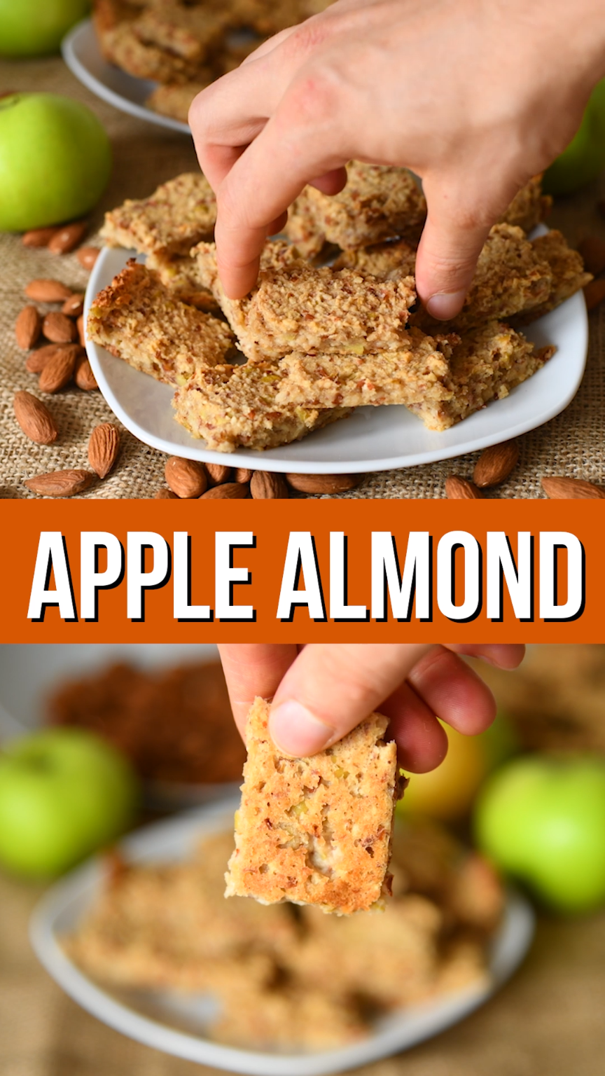 3 ingredient apple almond breakfast bars are easy to make, filling and loaded with goodness. You can use gluten free oats if you're sensitive to gluten.  Full of plant protein and a few is a perfect healthy breakfast on the go #healthyrecipe #breakfast #breakfastbar #healthy #amond #apple #healthybreakfast