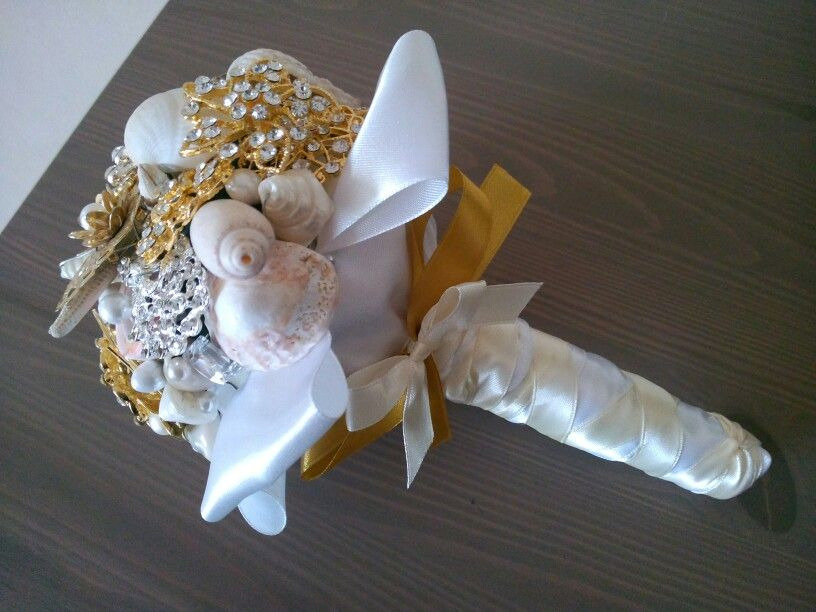 Gold tone brooch wedding bouquet for sale