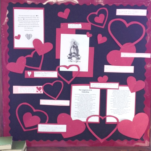 The Story Of St Valentine Bulletin Board My Students Wrote Their Favorite Bible Scripture About Love Valentine Bulletin Boards School Essay Essay Contests