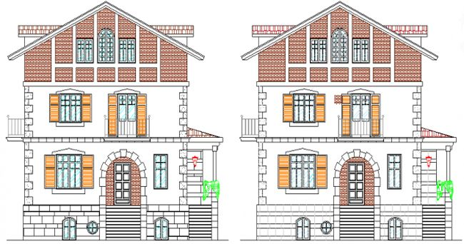 Download the sample drawing that shows the house elevation