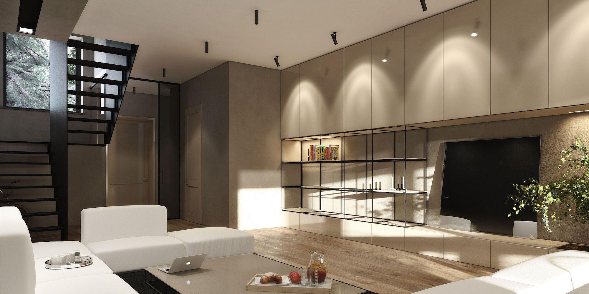 Stadthaus von Igor Sirotov Architect Visualisierte Wohnzimmer 3 ...