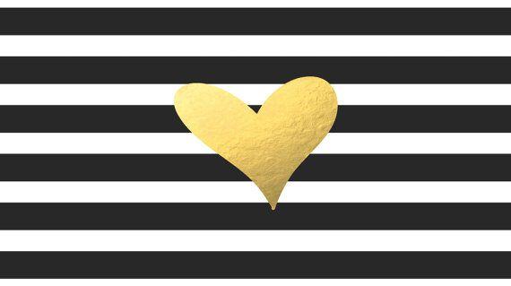 Black White Stripe With Gold Foil Heart Computer Desktop