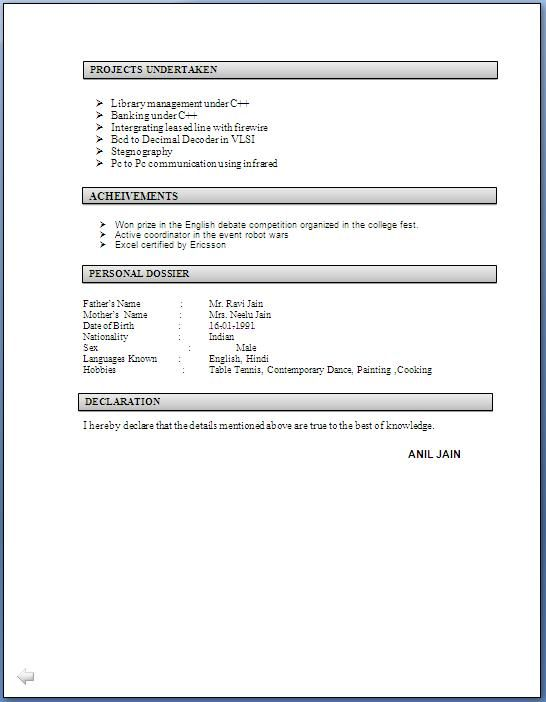 Resume Examples For Electronics Engineering Students - http\/\/www - hobbies and interests on a resume