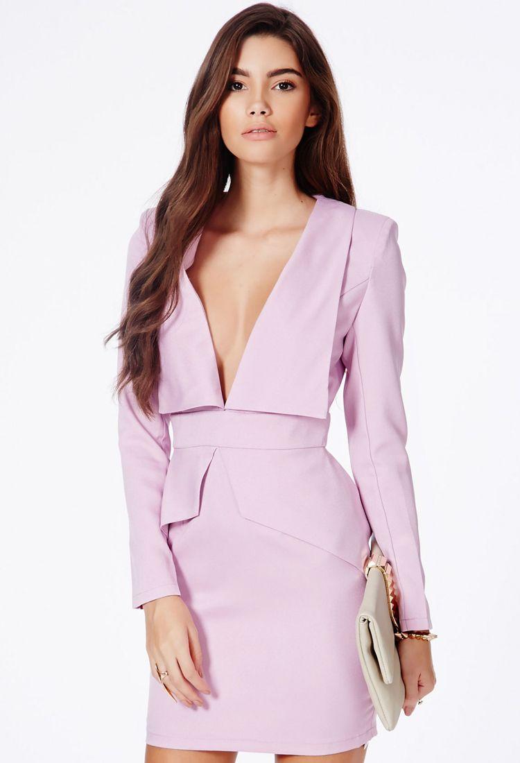 Vestido Bodycon cuello pico-violeta 24.05 | DRESS | Pinterest ...