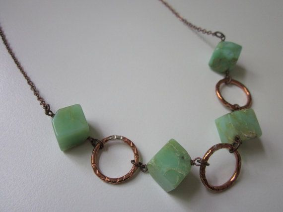 Pima - chunky antiqued copper, small hand hammered copper hoops, and stunning mint green chrysoprase gemstone cubes necklace by LoveRoot, $45.00