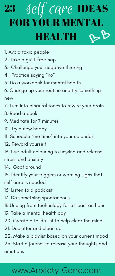 Looking for some self care ideas for Self Care Sunday? Look no further! Here are our top 23 self care tips. For the complete list of 53 self care exercises and activities, click the link.