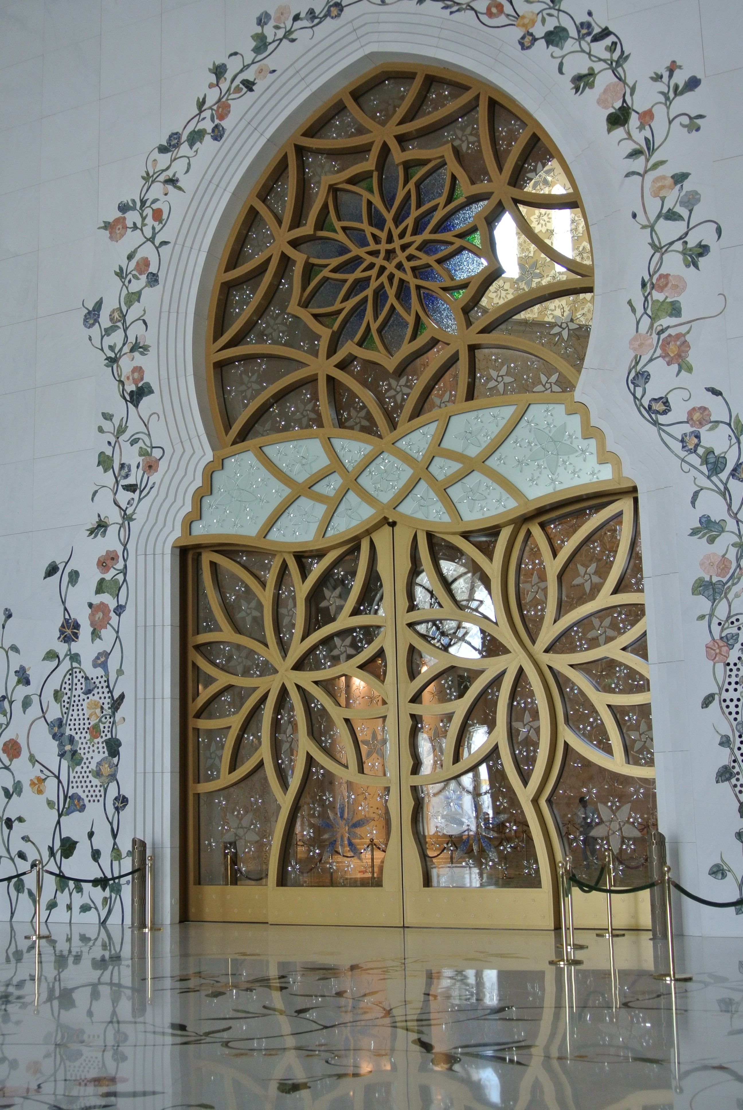 A door at the Sheik Zayed Grand Mosque in Abu Dhabi, U A E