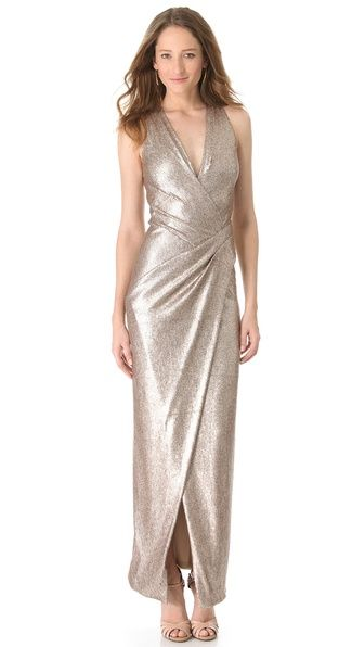 Donna Karan New York Plunge V Evening Dress With