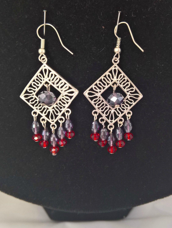 Purple And Red Crystal Handmade Earrings,boho Earrings, Chandelier Earrings,  Statement Crystal Earrings
