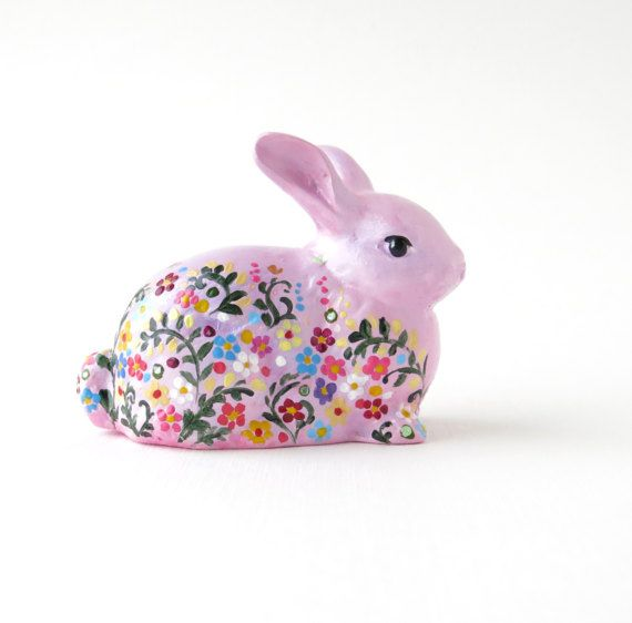Hand painted bunny Gift for mother Ceramic figurine by AnnaplusK