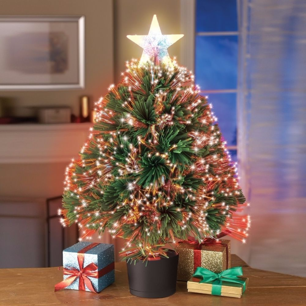 Festive Color Changing Fiber Optic Table Top Artificial Christmas Tree Decor