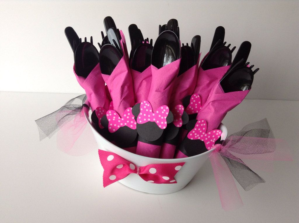 Minnie Mouse Birthday Party Cutlery Pink polka by AlishaKayDesigns