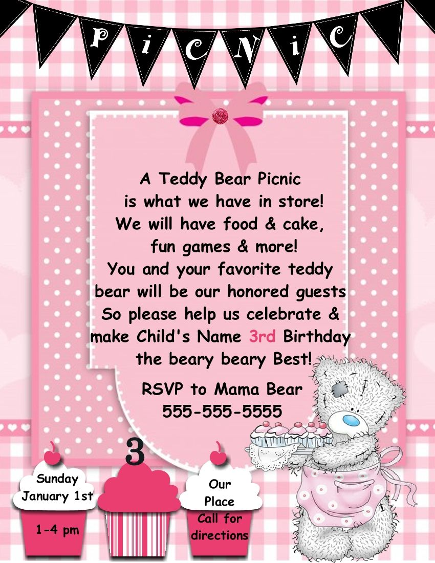 Digital Design Teddy Bear Picnic Invitation Template Grandkids In