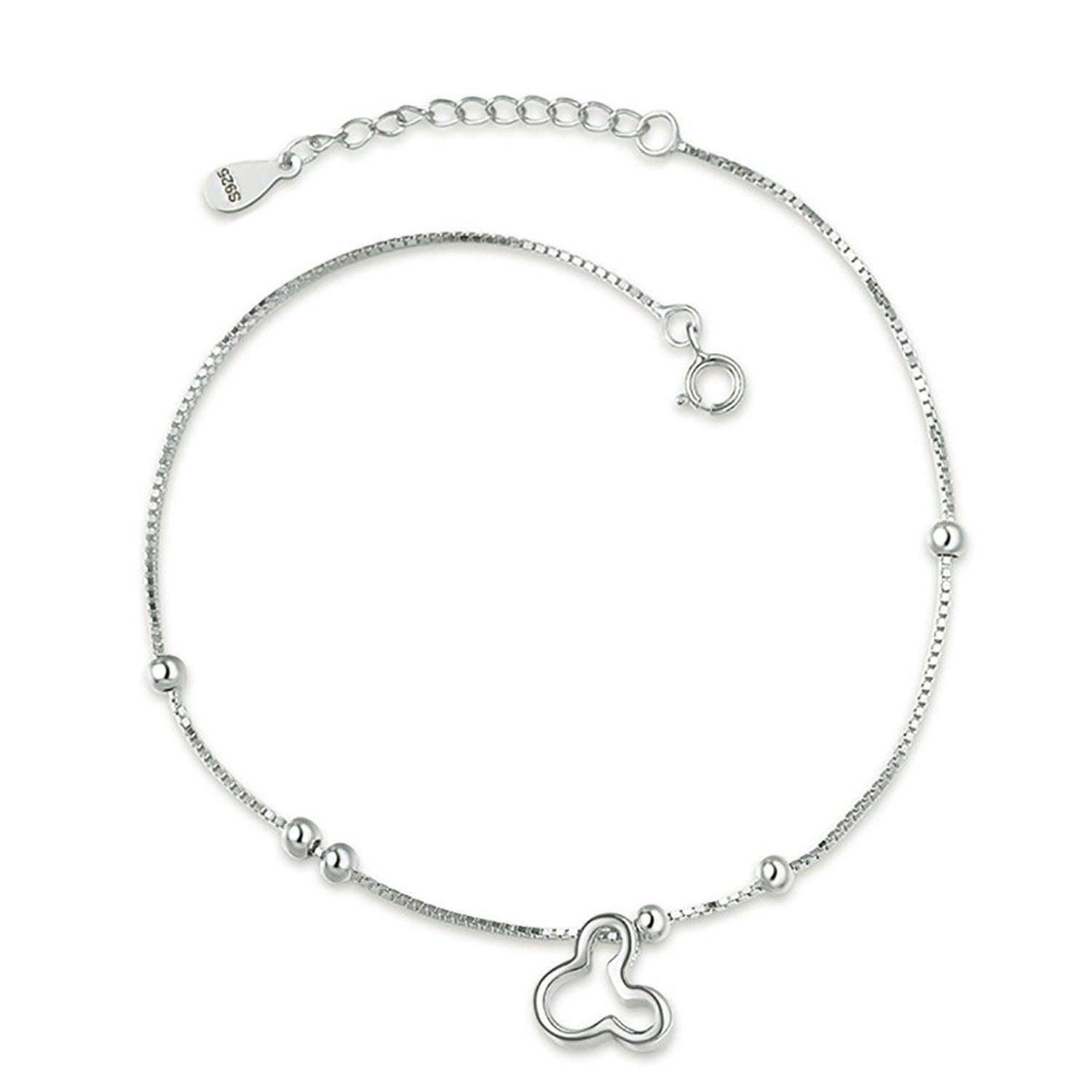Uniqueen Heart with Heart Ankle Bracelets 925 Sterling Silver Sexy Lucky Love Anklet Chain Beach Girl fc23UT