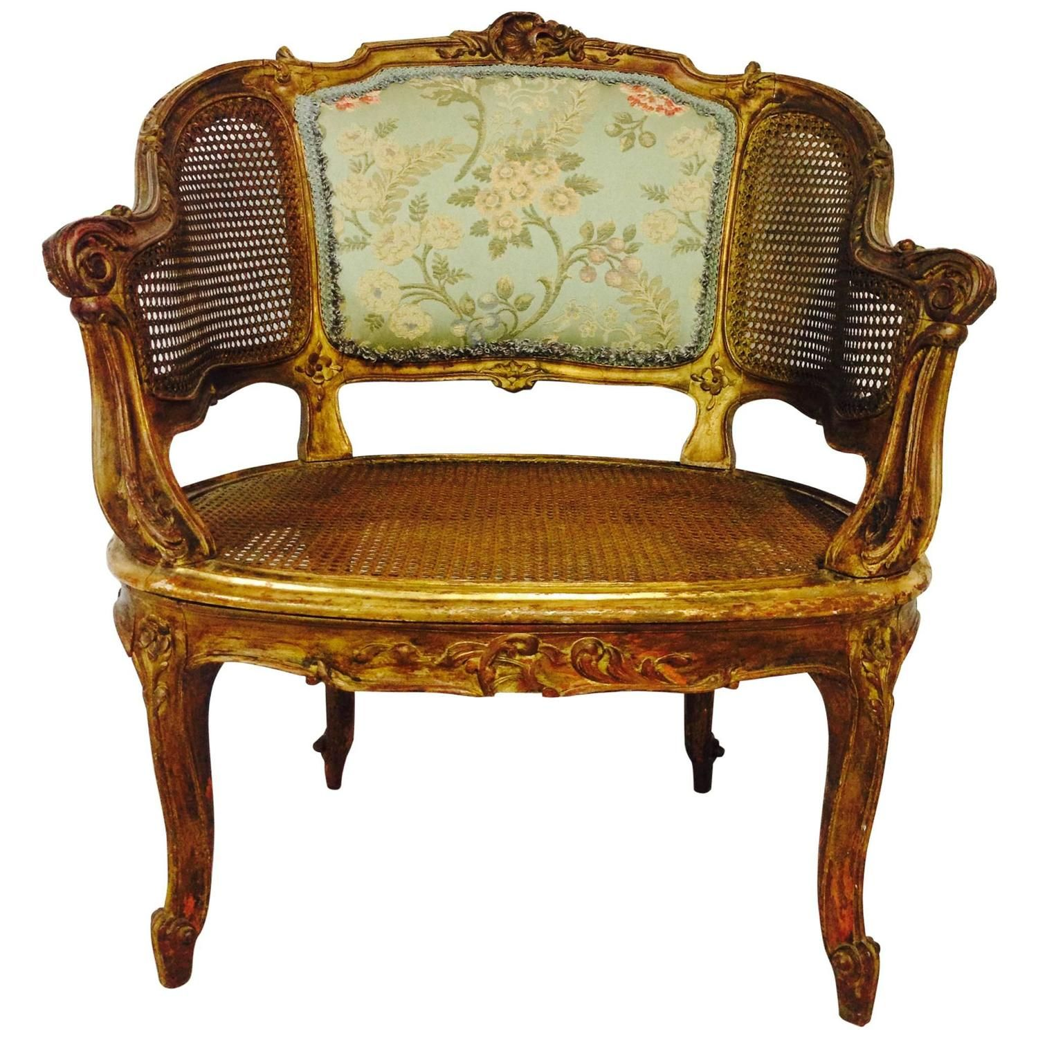 French 19th Century Louis XV Style Gilt wood Cane Back Chair