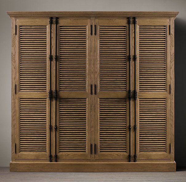 Shutter style cabinets- perfect for shoe storage. From Restoration ...