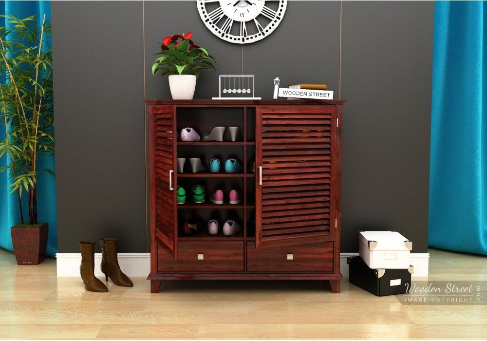 Buy Velvic Footwear Rack With Drawers Mahogany Finish Online In India Wooden Street Wooden Street Living Room Cabinets Cabinet