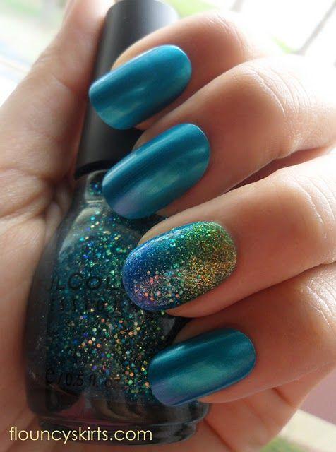 Mermaid gradient manicure instructions. heck yeah
