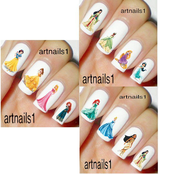 SET Disney Princess Nail 120-180 Water Decal Stickers Manicure Salon
