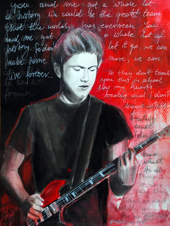 """Photo of Items similar to Niall Horan Watercolor and Pastel Portrait with """"History"""" Lyrics One Direction on Etsy"""